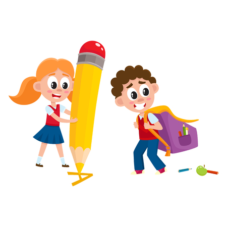 Back to school concept - boy carrying backpack, girl with huge pencil, cartoon vector illustration isolated on white background. Boy going to school with big backpack, girl writing with giant pencil