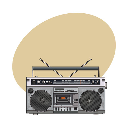 electronic music: Old fashioned, retro style audio tape recorder, ghetto boom box from 90s, sketch vector illustration with space for text. Front view of hand drawn audio tape recorder, boom box