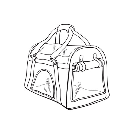 Pet travel fabric carrier, bag for transporting cats, dogs, sketch style vector illustration isolated on white background. Hand drawn pet carrier, transport, travel bag on white background