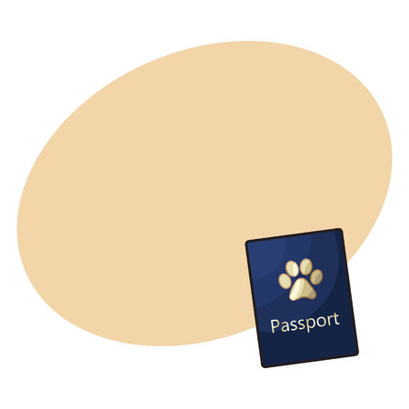 Pet passport, formal document, certificate for dog, cat, transportation, sketch vector illustration with space for text. Pet passport as small blue booklet with golden paw print on cover