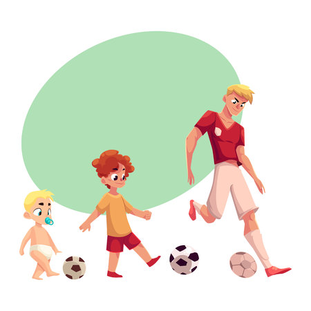 dribble: Baby, kid and adult soccer player playing football, sport for all ages, cartoon vector illustration with space for text. Professional soccer player, little boy and baby playing football Illustration