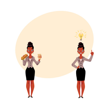 Black, African American businesswoman eats sandwich and coffee, gets idea, business insight, cartoon vector illustration with space for text. Black businesswoman gets lunch, has business idea