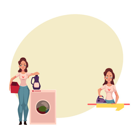 Pretty young woman, housewife doing housework - ironing, washing the floor, cartoon vector illustration with space for text. Beautiful woman washing washing clothes 向量圖像