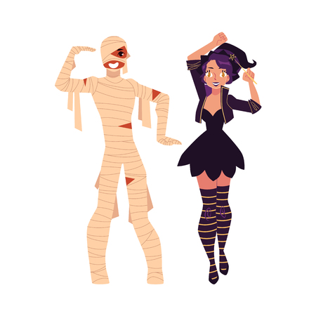 Girl, woman dressed as witch, magician, man in mummy costume, Halloween party, cartoon vector illustration isolated on white background. Couple dressed for Halloween - witch girl and mummy man