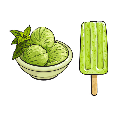 Hand drawn ice cream and popsicle with matcha green tea, sketch vector illustration isolated on white background. Hand drawn matcha tea ice cream - popsicle, scoops, sorbet