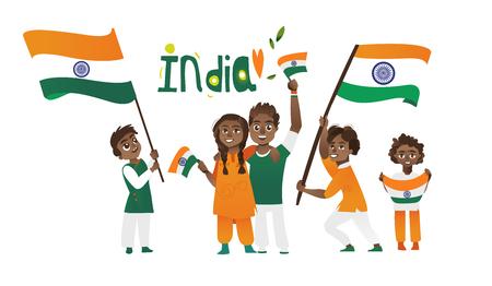 Set di persone indiane, uomo, donna, bambini, tenendo e agitando bandiere indiane, illustrazione vettoriale cartoon isolato su sfondo bianco. Persone indiane con le loro bandiere nazionali tricolore, grandi e piccole Archivio Fotografico - 82257194