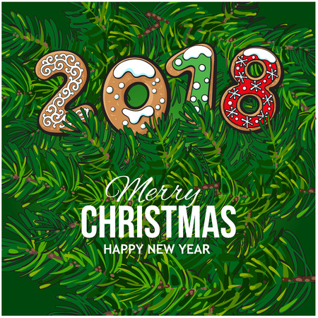 2018 Merry Christmas, New Year greeting card design with gingerbread cookies on fir tree branches background. Christmas, New Year greeting card, banner with gingerbread cookies, fir tree branches