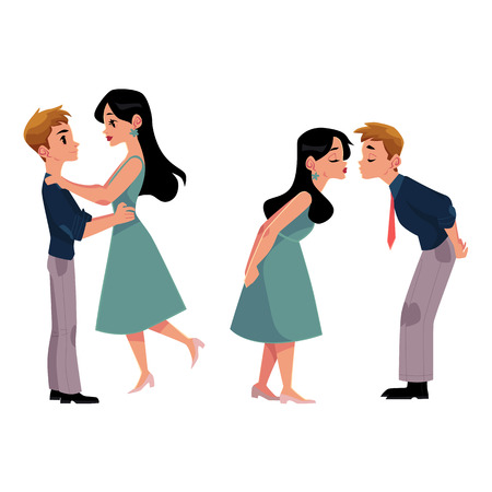 Set of young couple, man and woman, boy and girl kissing romantically, cartoon vector illustration isolated on white background. Set of four kissing couples, romantic relationships, dating, flirting