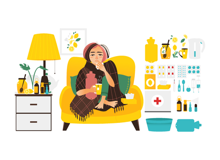 Sick woman sitting at home and big set of cold, influenza treatment elements, flat vector illustration isolated on white background. Sick woman and flu, cold related elements, medicines, objects Ilustrace
