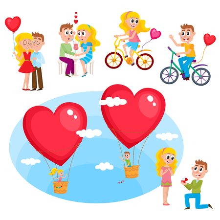 Loving couple set - kissing, dating, making proposal, romantic relationships, happy together, cartoon, comic vector illustration isolated on white background. Loving couple, kissing, dating, proposal