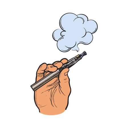 남성의 손에 들고 전자 담배, 전자 담배, 증기 연기 나오는, 스케치 벡터 일러스트 레이 션 흰색 배경에 고립. 전자 담배, 증기 및 연기를 들고 손을 그