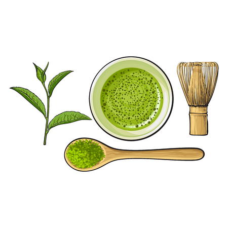 Top view set of matcha powder bowl, wooden spoon and whisk, green tea leaf, sketch vector illustration isolated on white background. Realistic hand drawing of matcha green tea preparation accessories