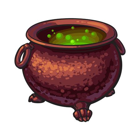 Halloween-ketel met binnen kokend groen drankje, de vectorillustratie van de schetsstijl die op witte achtergrond wordt geïsoleerd. Hand getrokken, schets stijl caldron, caulron, hekserij accessoire, Halloween-object
