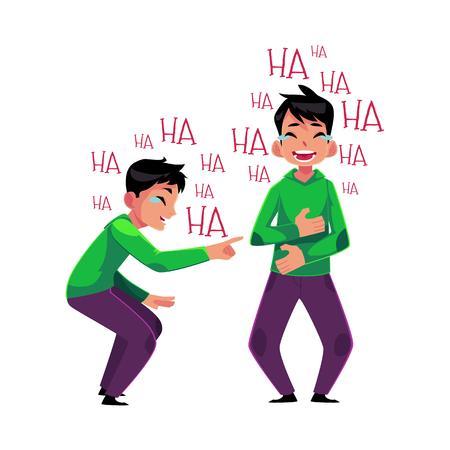 Jonge man huilen van gelach, wijzen, die betrekking hebben op de mond met zijn maag, cartoon vectorillustratie geïsoleerd op een witte achtergrond. Portret van een jonge man barst van het lachen, lachen tot tranen