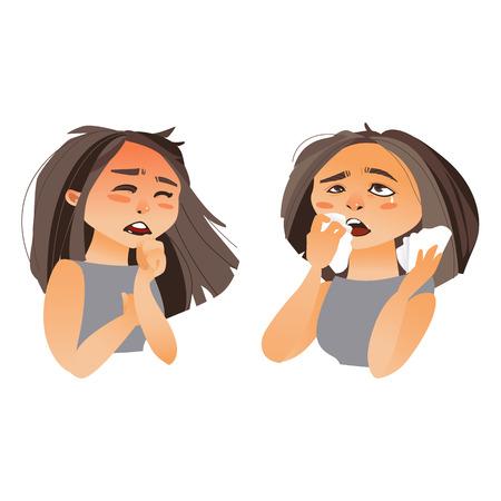 Vrouw die griepsymptomen - hoest en lopende neus, beeldverhaal vectordieillustratie hebben op witte achtergrond wordt geïsoleerd. Half lengteportret van meisje, hoestende vrouw, vechtend haar neus met papieren zakdoekjes