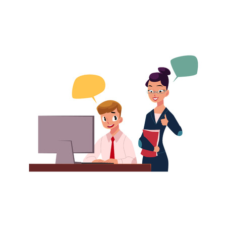 Female boss managing male employee working on computer, cartoon vector illustration isolated on white background. Female boss supervising male employee working in office, showing approval 向量圖像