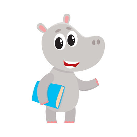 Cute little hippo student character standing with book under arm, cartoon vector illustration isolated on white background. Little hippo animal student character with a book, back to school concept Illustration