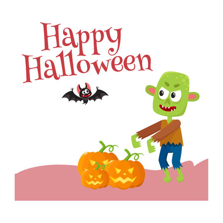Happy Halloween greeting card, poster, banner design with bat and with little green zombie monster with orange pumpkin, cartoon vector illustration isolated on white background.