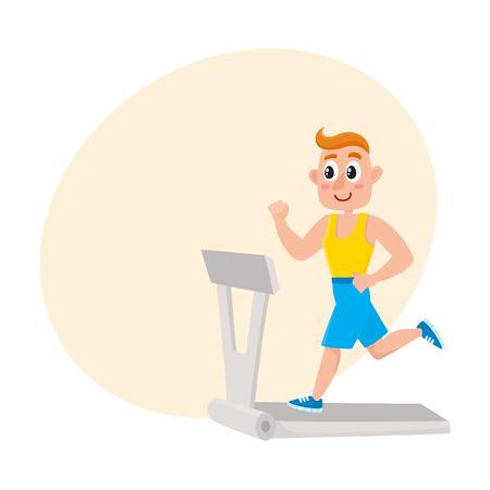 Jonge man loopt op de loopband, trainen in de sportschool, sport beoefening, cartoon vectorillustratie met ruimte voor tekst. Beeldverhaalmens, kerel die op tredmolen lopen, die cardio in gymnastiek doen