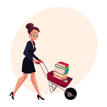 행복 한 여자, 여자, 수레를 추진하는 사업가 책, 텍스트에 대 한 공간을 가진 만화 벡터 일러스트 레이 션의 전체. 사업 여자, 여자, 책을 무덤을 추진