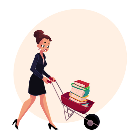 Happy woman, girl, businesswoman pushing wheelbarrow full of books, cartoon vector illustration with space for text. Businesswoman, woman, girl pushing barrow with books, studying concept Çizim