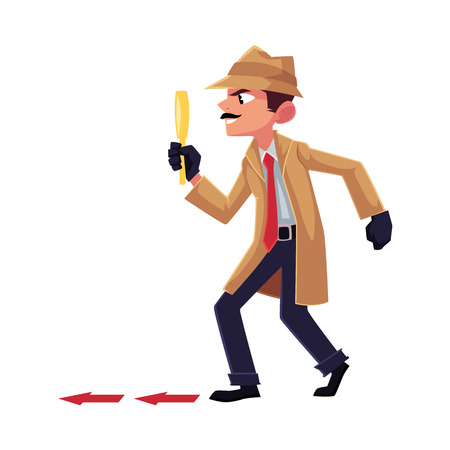 Detective character following, tiptoeing after somebody with magnifying glass, cartoon vector illustration isolated on white background. Full length portrait of funny detective character at work