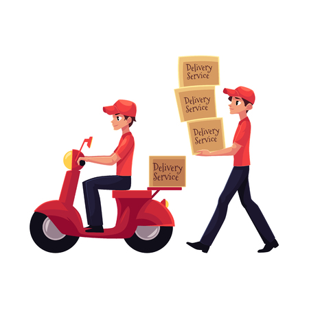 Courier carrying pile of boxes, delivering packages by scooter, motorcycle, cartoon vector illustration isolated on white background. Full length portrait of delivery service man at work
