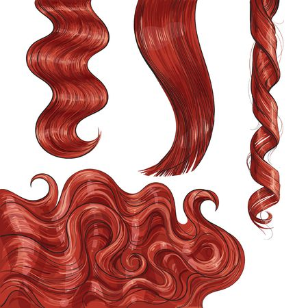 Set of shiny long red fair straight and wavy hair curls, sketch style vector illustration isolated on white background. Set of hand drawn realistic healthy, shiny red, flaxen hair curls