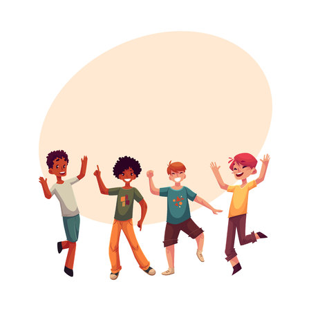 Black and Caucasian boys, kids having fun, dancing at party, cartoon vector illustration with space for text. Happy boys dancing, jumping at a kids, birthday party, having fun