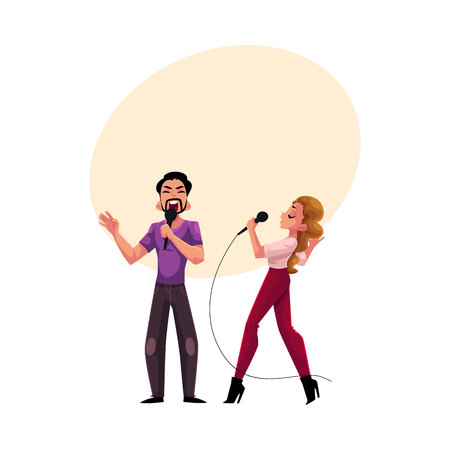 Man and woman, couple singing in duet, karaoke party, contest, competition, cartoon vector illustration with space for text. Two karaoke singers, man woman, male female, singing together Фото со стока - 82257340