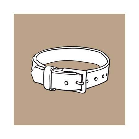 Pet, cat, dog brown leather collar with metal buckle, black and white sketch style vector illustration isolated on brown background. Hand drawn pet, dog buckle collar made of thick leather Illustration