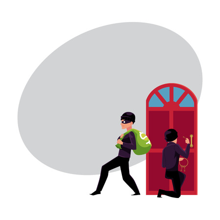 Thief, burglar, robber breaking in house, walking away with money bag, cartoon vector illustration with space for text. Burglar, robber, thief breaking into house, going away with money Çizim