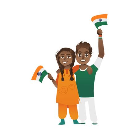 Giovani coppie, uomo e donna che tiene, sventolando bandiere indiane, fumetto illustrazione vettoriale isolato su sfondo bianco. Ritratto a figura intera di coppia, uomo e donna con bandiere tricolore indiani Archivio Fotografico - 82257341