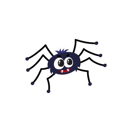 かわいいと面白い黒いクモ、伝統的なハロウィーンのシンボル、白い背景で隔離の漫画ベクトル図です。