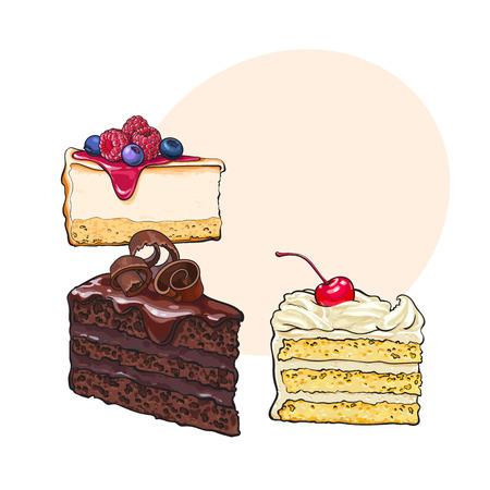 手の描かれたデザート - 個、チーズケーキのスライスとバニラのケーキ、テキスト用のスペース、スケッチ スタイル ベクトル図を階層化します。