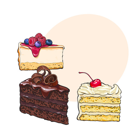 Hand drawn desserts - pieces, slices of cheesecake and layered vanilla cake, sketch style vector illustration with space for text.