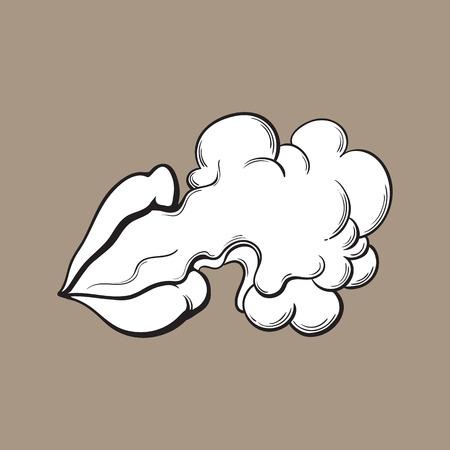 아름다운 반짝이 립스틱 연기 구름, 흑백 스케치 스타일 벡터 일러스트 컬러 배경에 방출과 아름 다운 여성 입술.