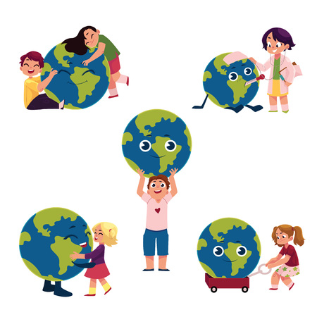 아이, 소년과 소녀, 껴안고, 들고, 글로브, 지구 행성, 흰색 배경에 고립 된 만화 벡터 일러스트 레이 션을 가지고 노는. 어린이, 어린이 및 지구, 지구