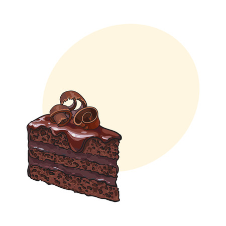Hand drawn piece of layered chocolate cake with icing and shavings, sketch style vector illustration with space for text. Realistic hand drawing of piece, slice of chocolate cake Illustration