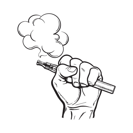 Male hand holding e-cigarette, electronic cigarette, vapor with smoke coming out, black and white sketch vector illustration isolated on background. Stock Illustratie