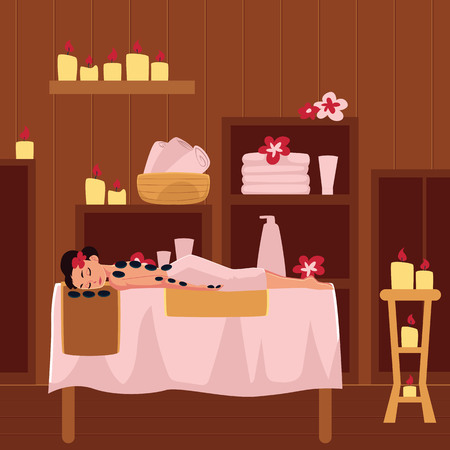 Young woman getting hot stone therapy in spa salon, lying on massage table, cartoon vector illustration. Woman getting hot stone massage procedure in spa salon, lying on massage table in spa salon Ilustração