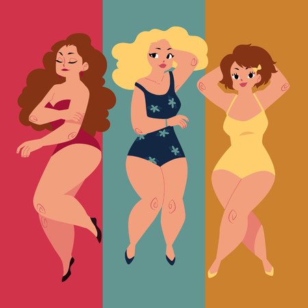 Three plump, curvy women, girls, plus size models in swimming suits lying, sunbathing on the beach, top view cartoon vector illustration. Beautiful plump, overweight women, girls in swimming suits