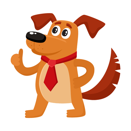 Funny brown house dog character in red tie showing thumb up, cartoon vector illustration isolated on white background. Funny dog, puppy character in businessman tie standing and showing thump up