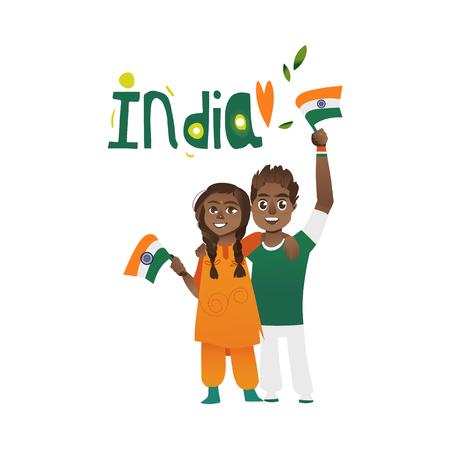 Giovani coppie, uomo e donna che tiene, sventolando bandiere indiane, fumetto illustrazione vettoriale isolato su sfondo bianco. Ritratto a figura intera di coppia, uomo e donna con bandiere tricolore indiani Archivio Fotografico - 82342327