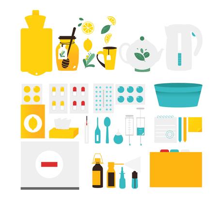 Big set of flu, cold, influenza treatment objects, elements, flat style vector illustration isolated on white background. Set of flat style flu, cold, influenza themed design elements, objects, pills
