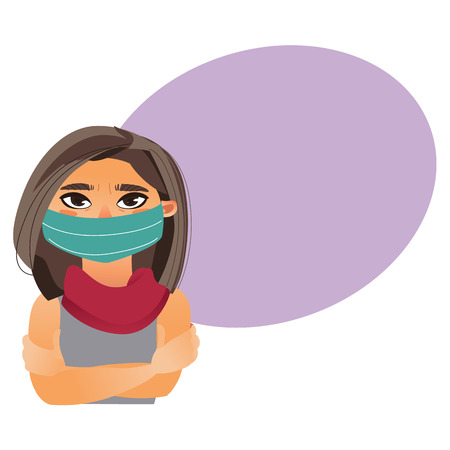 Woman wearing medical mask, half length front view portrait, cartoon vector illustration isolated on white background with speech bubble