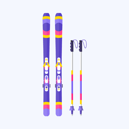 Pairs of skis and sticks, poles, flat style vector illustration isolated on background. Flat vector ski and ski poles, colorful illustration Illustration