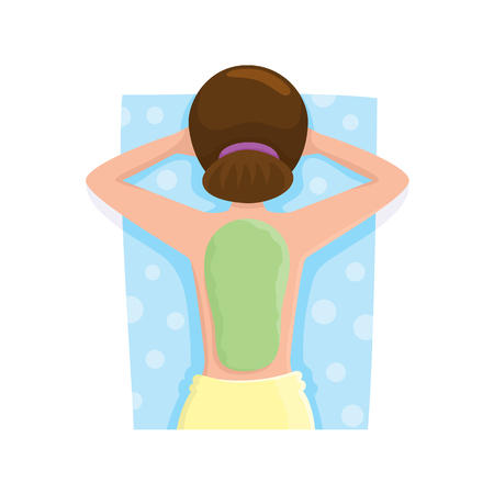 Young woman getting algae mask, mud treatment in spa salon, top view cartoon vector illustration on white background. Top view picture of woman getting mud, algae mask on her back in spa salon Stock fotó - 82342337