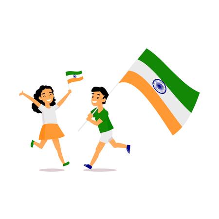 두 아이, 소년과 소녀, 3 색 인도 플래그, 흰색 배경에 고립 된 간단한 만화 벡터 일러스트와 함께 행복 하 게 실행합니다. 인도 소년과 소녀 국가 삼색