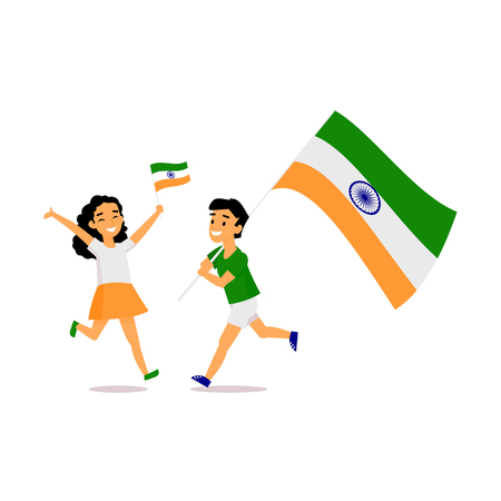 Two kids, boy and girl, running happily with tricolor Indian flags, simple cartoon vector illustration isolated on white background. Indian boy and girl running with national tricolor flags